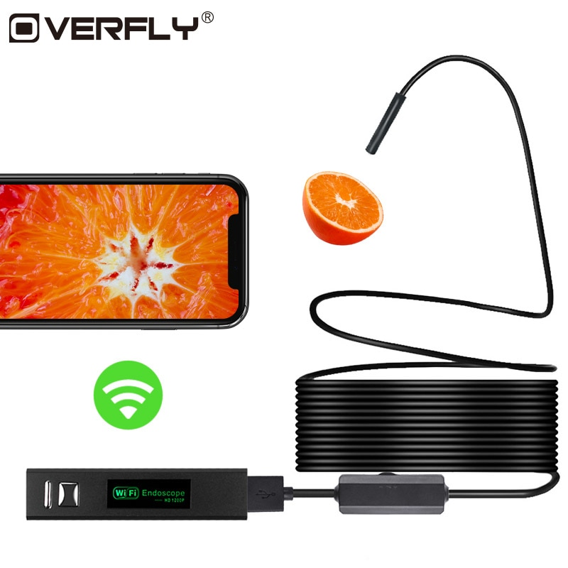 Overfly Wifi Endoscope Camera 8mm HD 1200P Waterproof USB Wireless Borescope Mini Camcorders for iphone Android Windows MAC IOS