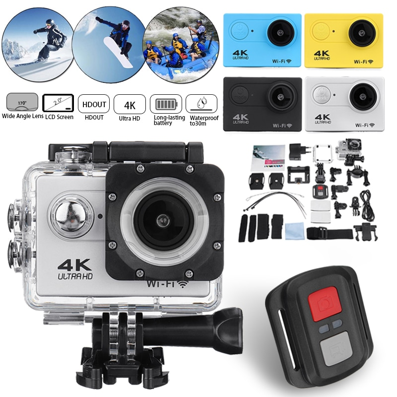 Remote Control Action Camera Waterproof 4K 1080P 2.0 LCD Ultra HD Screen WiFi 30M 170D DVR Cam Underwater Mini Camcorder Video