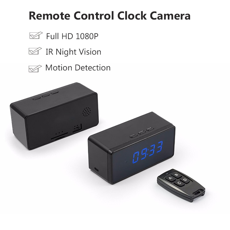 Remote Control Clock Camera Full HD 1080P Mini Camera Alarm Setting Table Clock Camera Infared Night Vision Secret Camera Espia