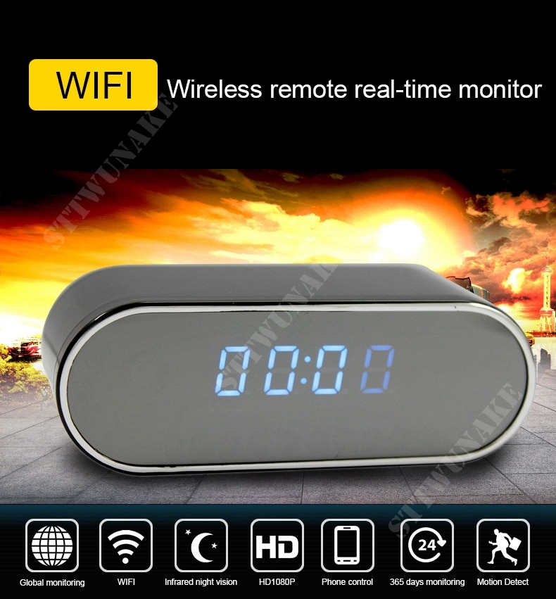 STTWUNAKE 1080P HD mini camera DV Night Vision Wireless WIFI Electronic Clock IP Remotely Monitor Cam Video recorder Camcorder