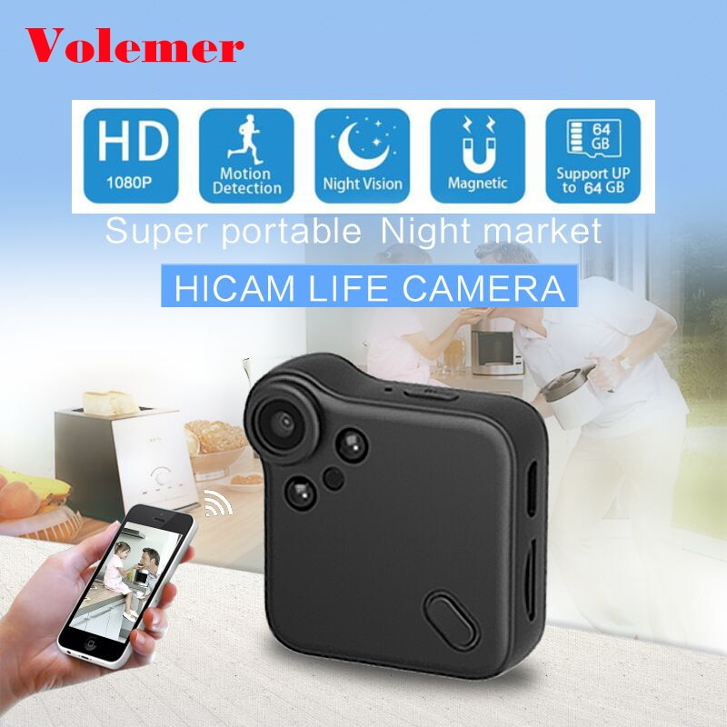 Volemer C1s P2P Mini Camera Full HD 1080P Infrared Night Version IP Cam Car DVRs Magnetic Clip Wireless Wifi Flexible Camera