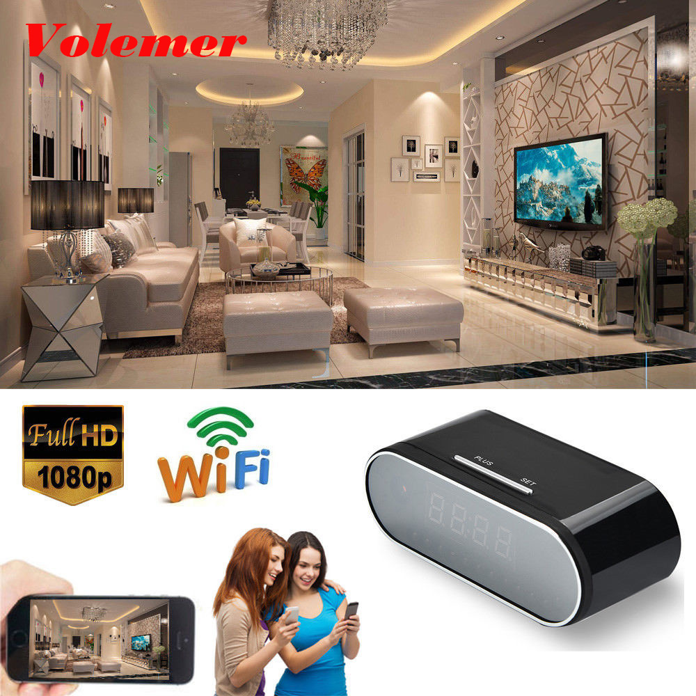 Volemer New Mini Camera Clock Alarm P2P IR Night Vision Wifi Cam IP 1080 Mini DV DVR Camcorder Wifi Remote Control Recorder Z10