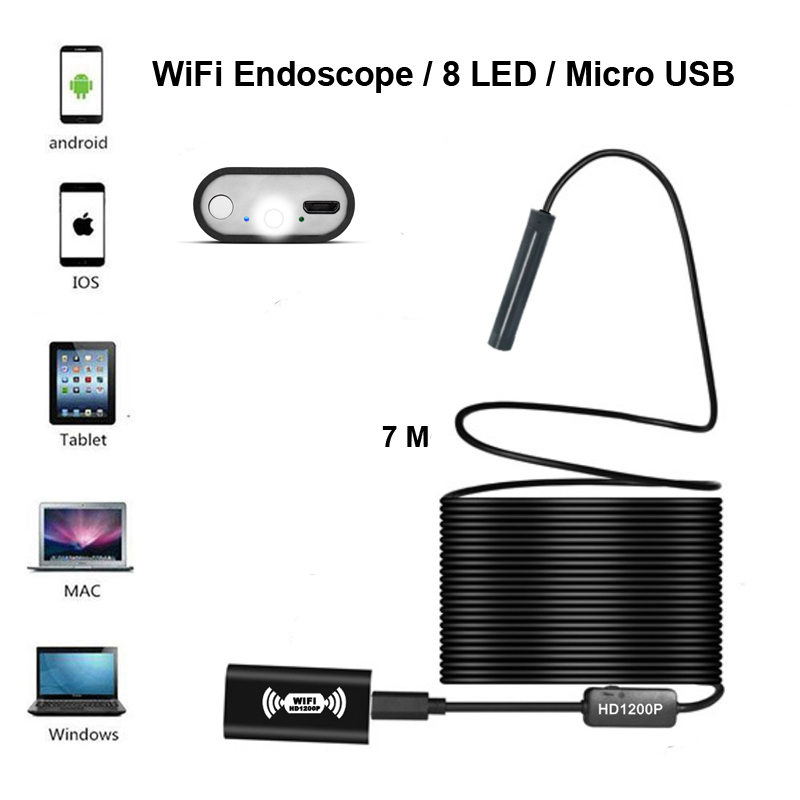 Volemer Wifi Endoscope Camera HD 1200P IP68 Semi Rigid Tube Micro Wireless Borescope Inspection USB Endoscope for Android/iOS
