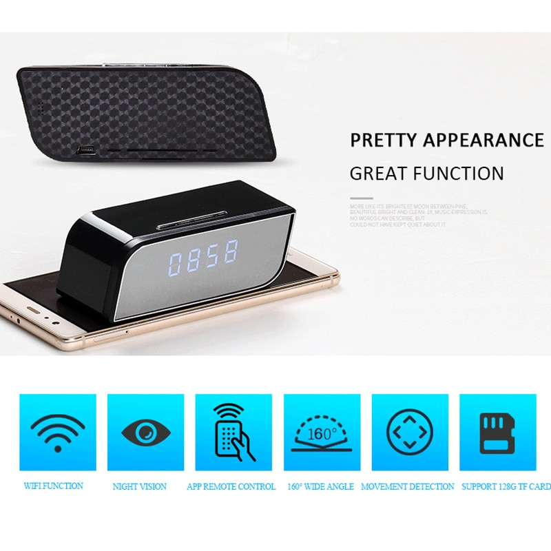 WIFI Function 1080P Remote Control Clock Mini Camera Night Vision HD Mirco Camcorder Motion Detection Cam Support 128G TF Card