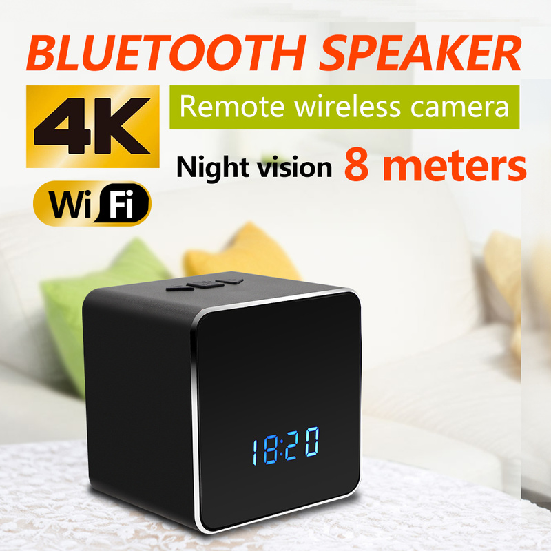 WIFI Z22 WIFI 4k camcorder video HD Security Night Vision Mini Camera Hidden Clock Wireless Bluetooth Speaker Player Electronic