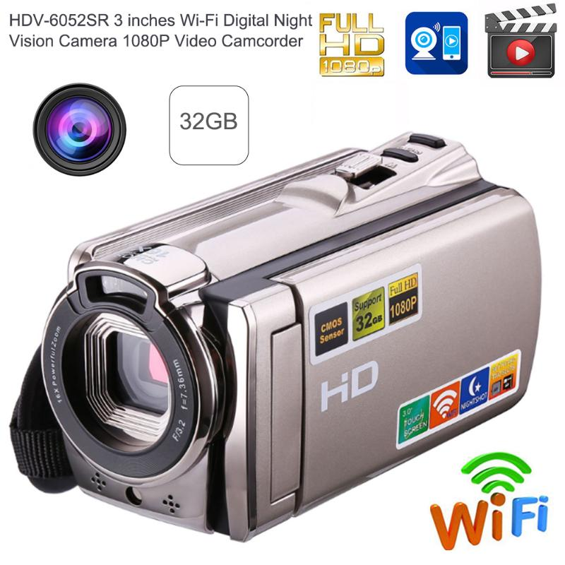 Wi-Fi Digital Camera HD 1080P Video Camera Camcorder Night Vision 8MP 16X Zoom COMS Sensor 3 inch TFT LCD Screen Wireless Camera