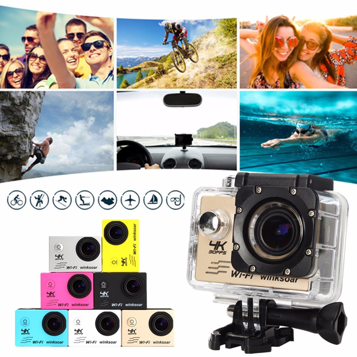 Winsoar SJ9000 4K Sport Action DV Camera Camcorder Ultra HD 120 Waterproof WiFi 2.0'' Yellow White Black Silver Gold Blue Pink