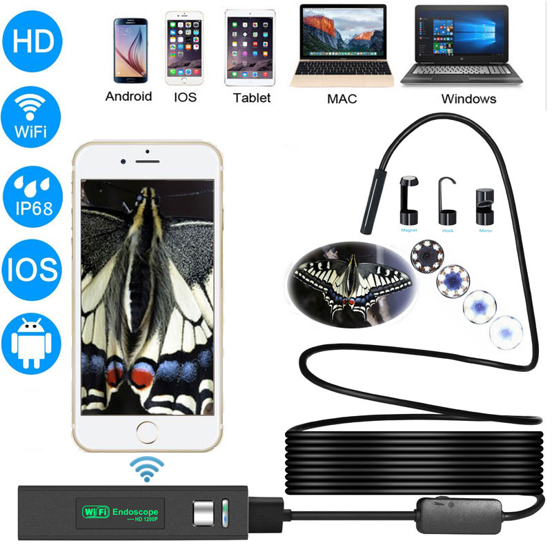 Zwn Wifi Endoscope HD 1200P Waterproof Hard Wire USB Inspection Mini Camera With 8mm lens and 8 LED Borescope For Android IOS PC